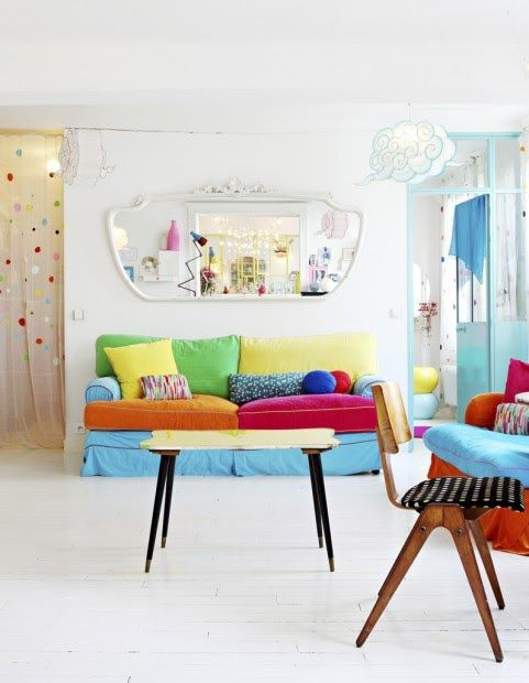 Think about how you can colour block, it can be as easy as covering sofa cushions