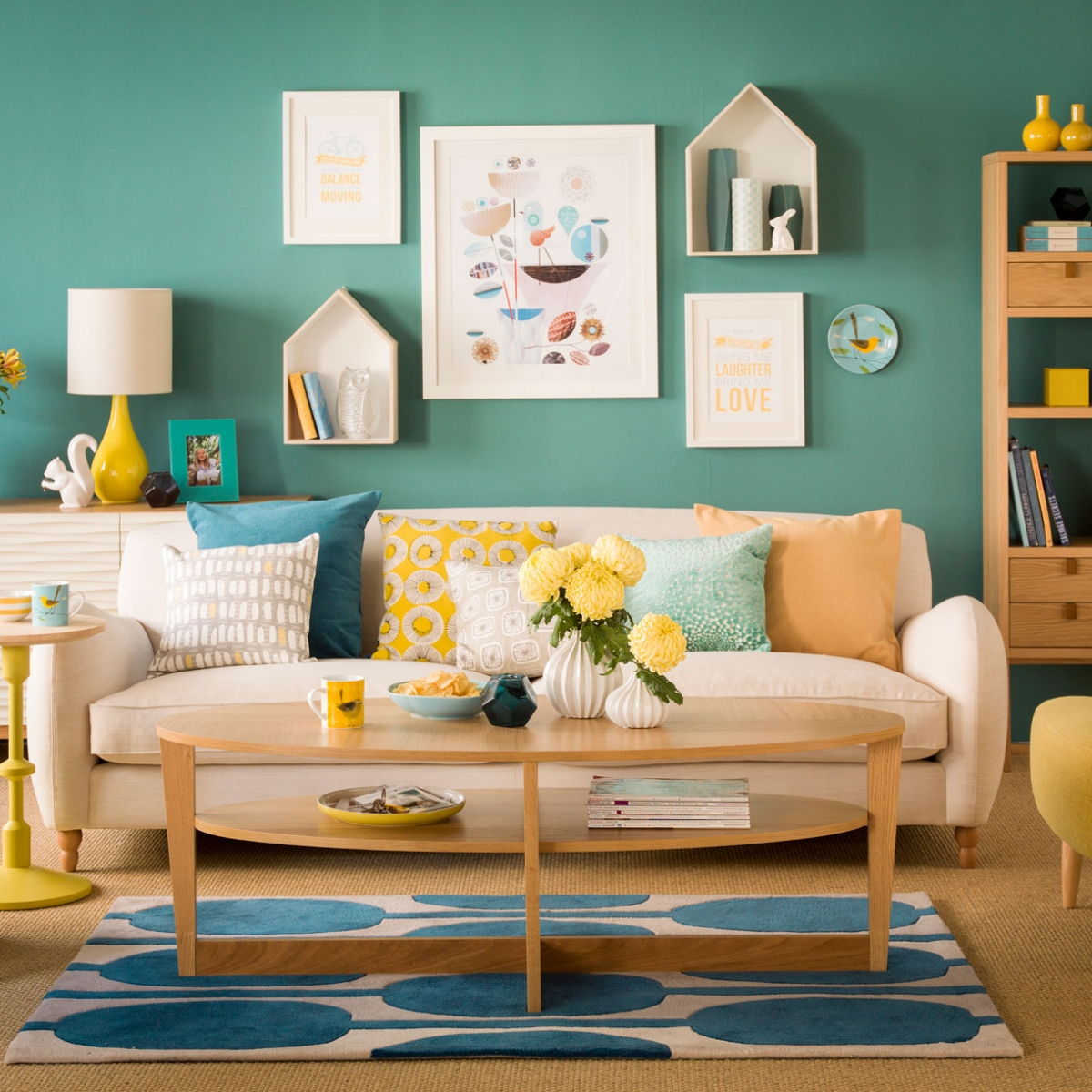Create a mood board sophie robinson for Teal blue living room ideas
