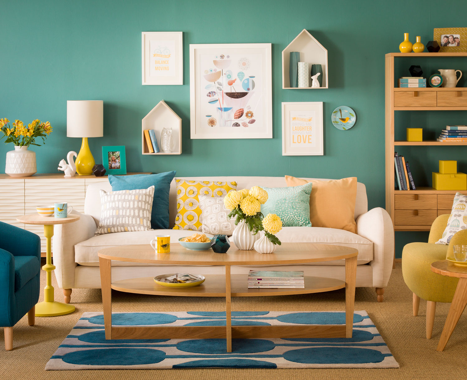 Teal trend room scheme for Ideal Home magazine