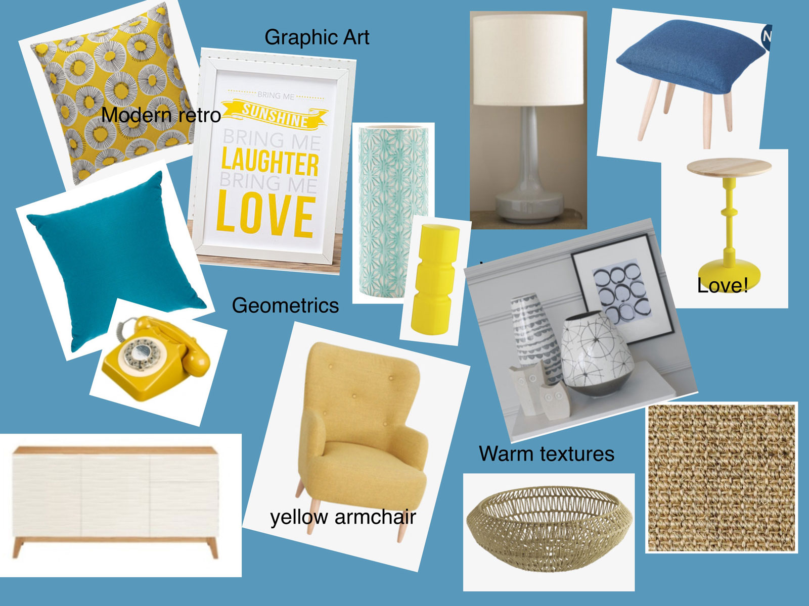 Selected products for the room scheme