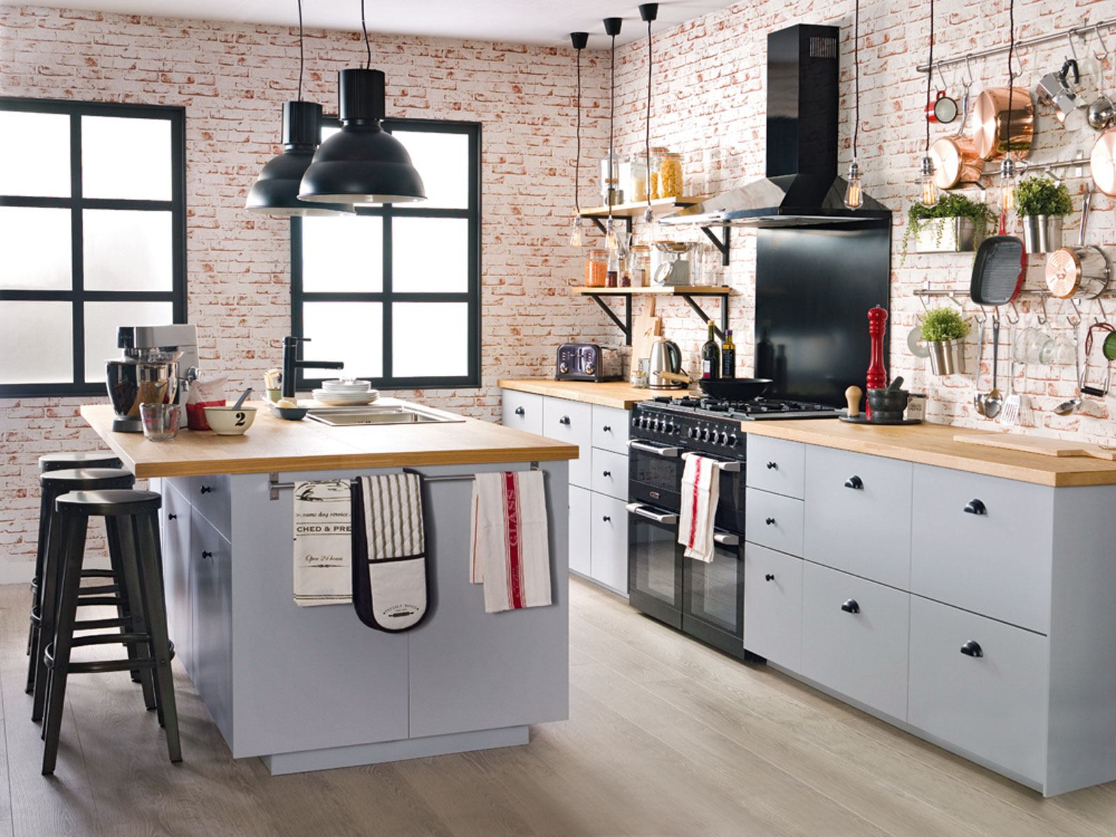 Industrial kitchen  interior. Designed for Ideal Home by Sophie Robisnon