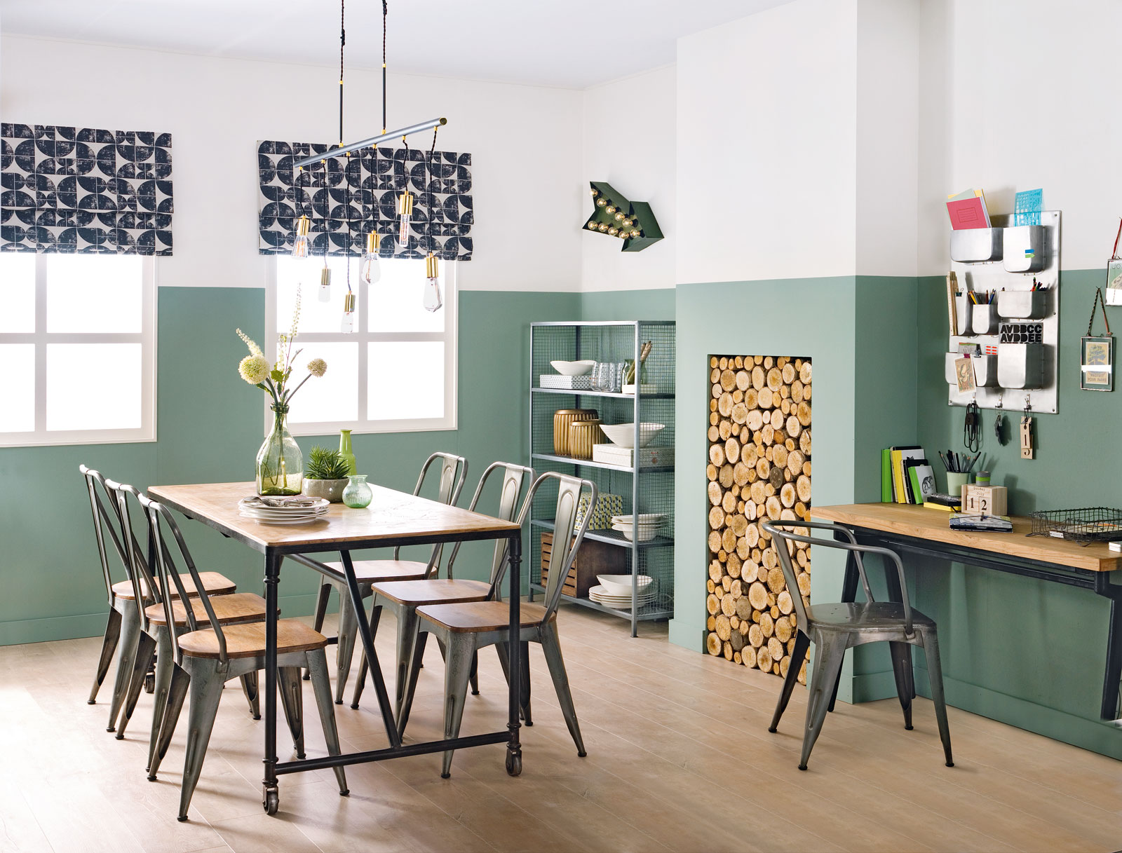 Industrial dining room. Designed for Ideal Home by Sophie Robinson.