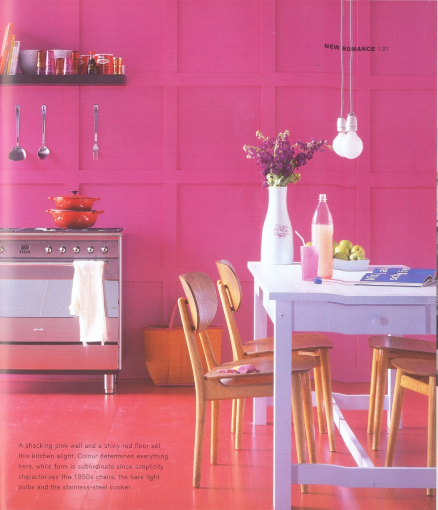 Bright pink kitchen design