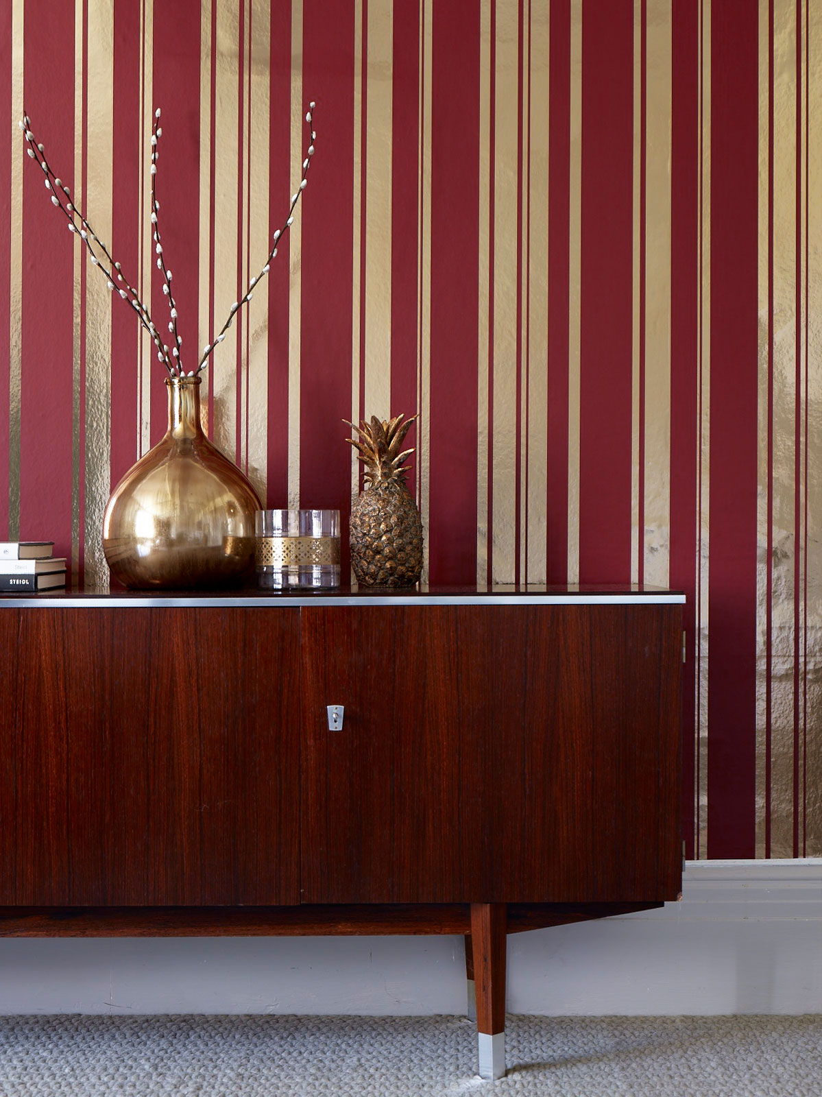 Foil stripe wallpaper from Wallpapersdirect. Image styled by Sophie Robinson.