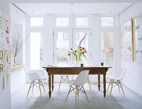White sunny dining room