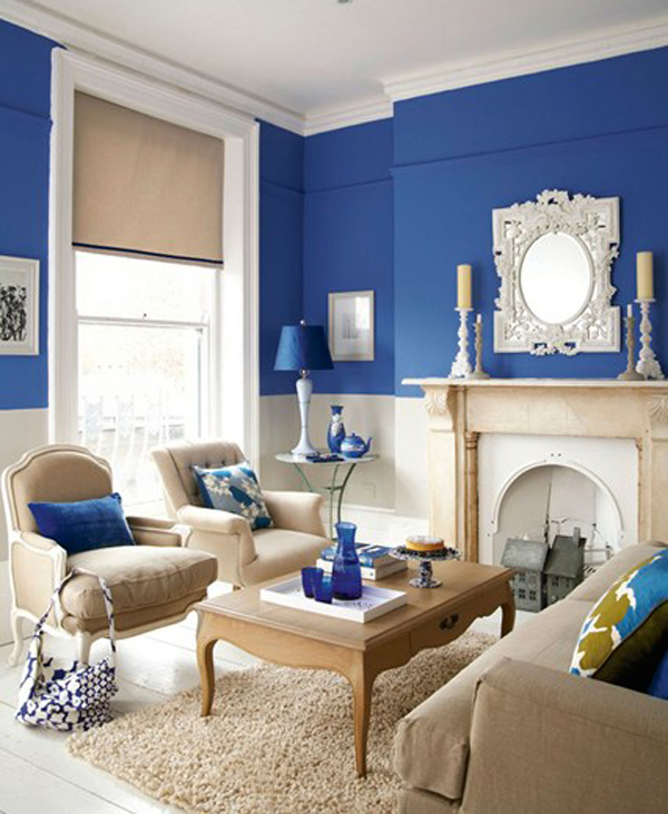 Blue and cream living room