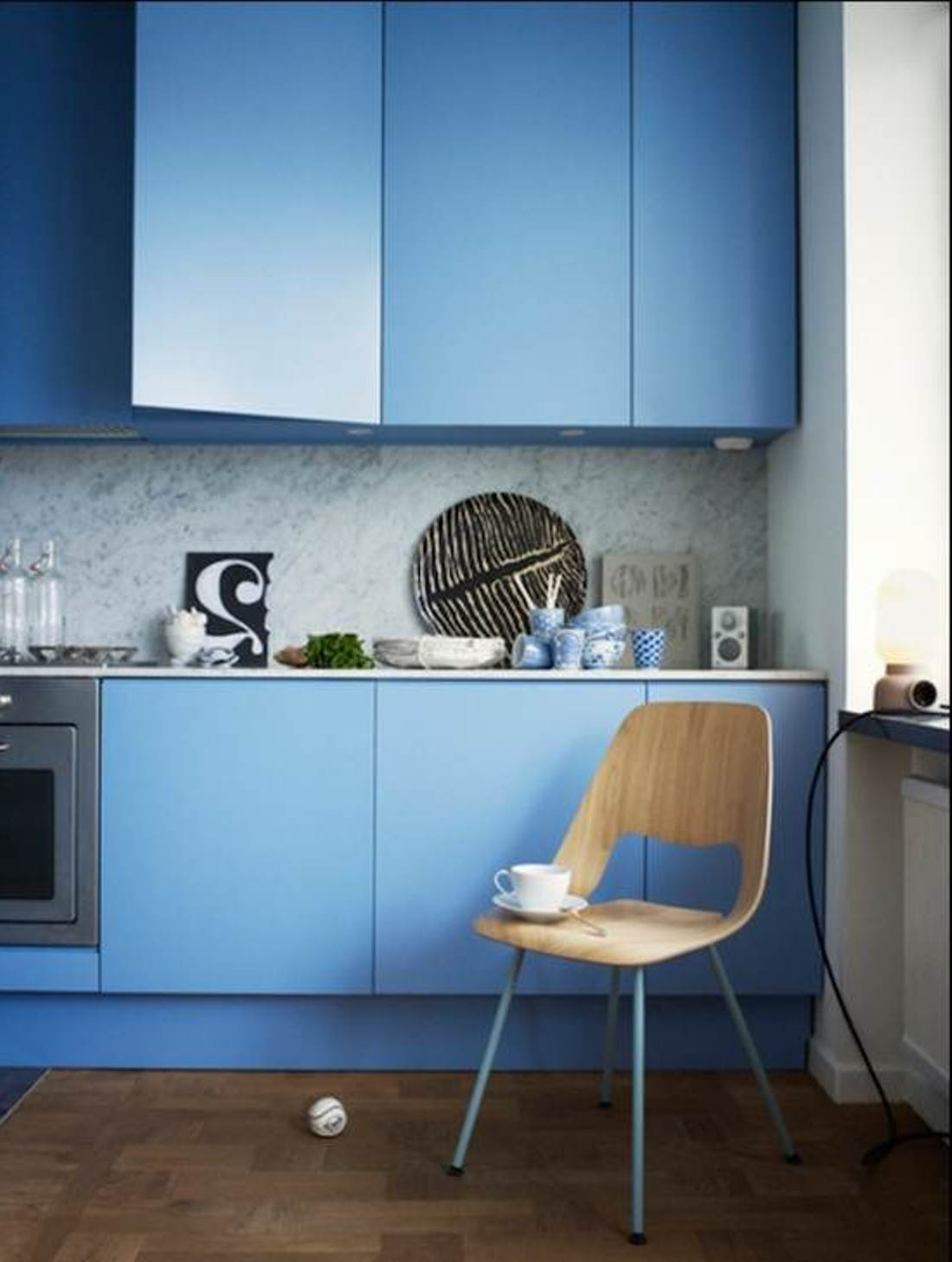 elegant blue kitchen cabinet inspiration in contemporary blue and