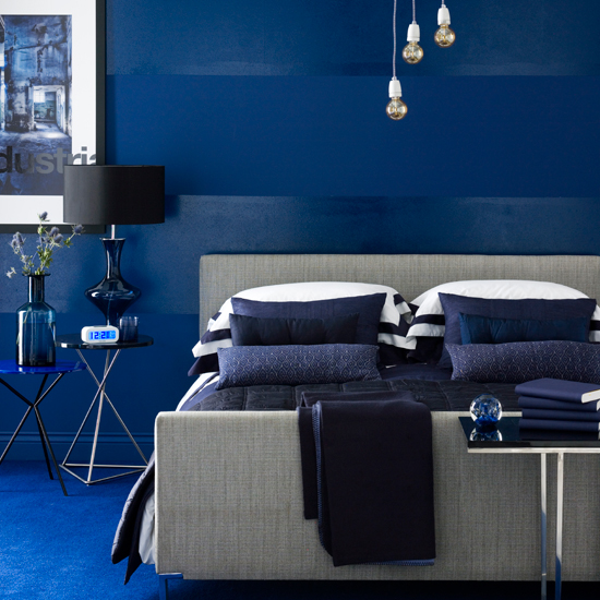 blue monochromatic bedroom