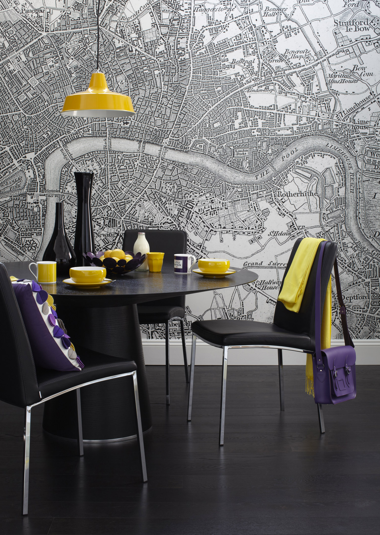 A map mural used as a feature wallpaper. Interior Design by Sophie Robinson for housetohome.co.uk