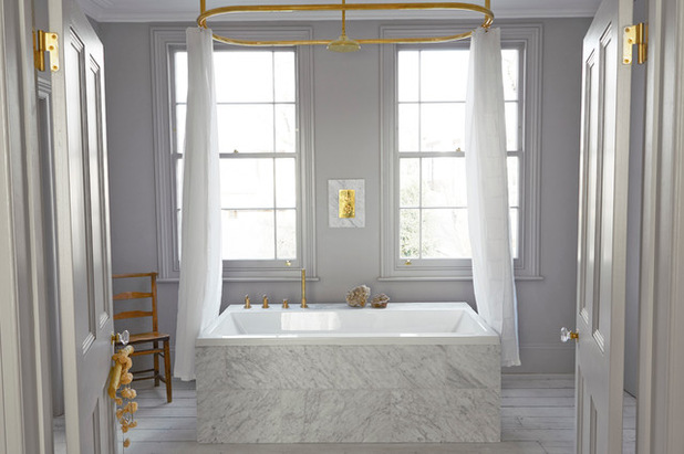 Bathroom in the London home of stylist Louisa Grey