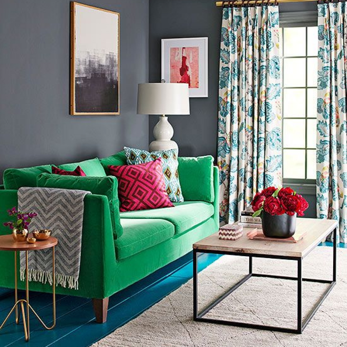 green sofa dark contemporary living room sophie robinson