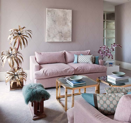 Rose quartz and blue living room