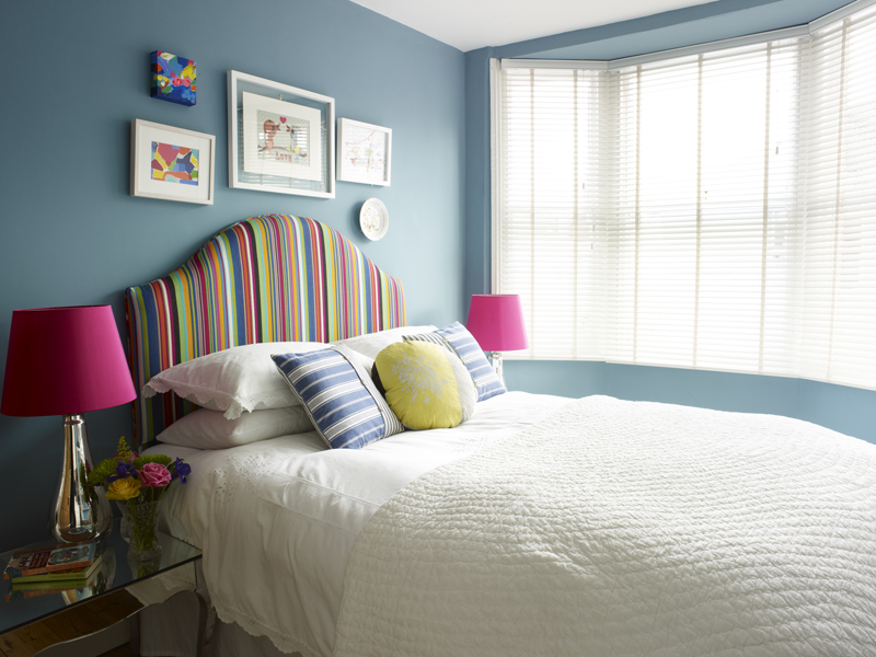 Sweet Shop blue bedroom by Sophie Robinson. Photograph by Rachel Smith