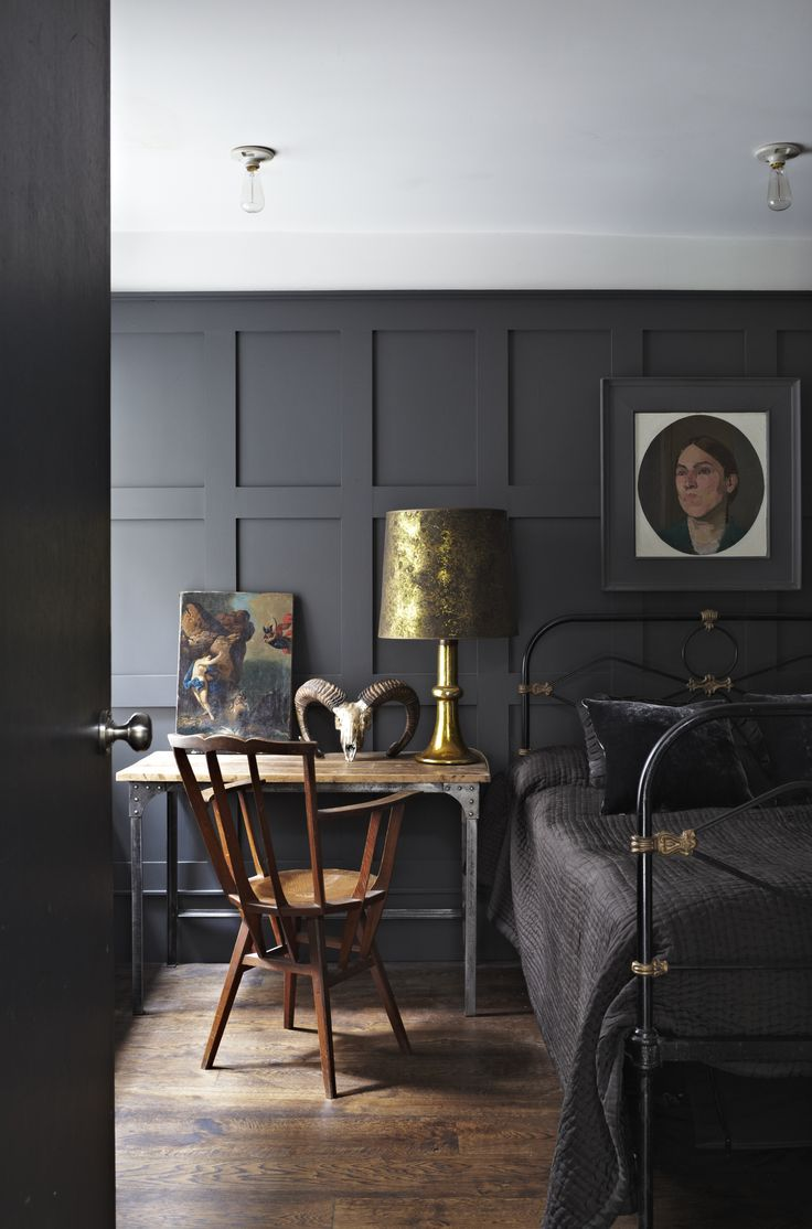 Dark Grey Black Bedroom Interior Design
