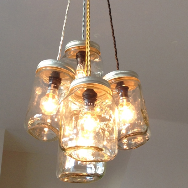 Jam jar upcycled chandelier from the great interior design challenge