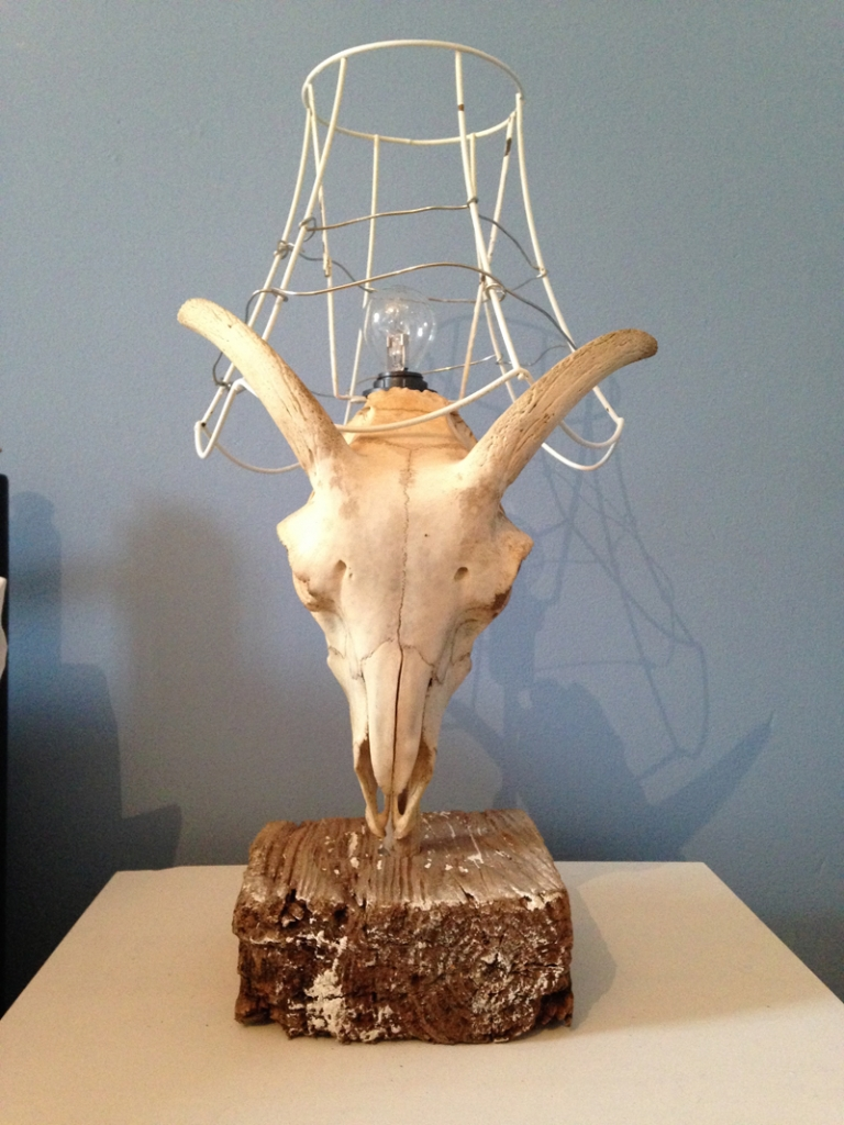 Antler up cycled wire lamp as featured in the Great Interior Design Challenge Image by www.sophierobinson.co.uk