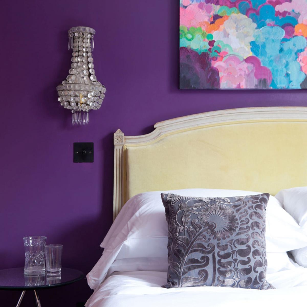 master bedroom guest makeover sophie abbott yellow headboard purple bedroom