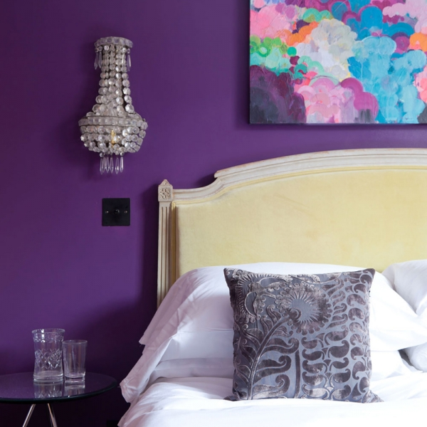 master bedroom guest makeover sophie abbott yellow headboard purple bedroom