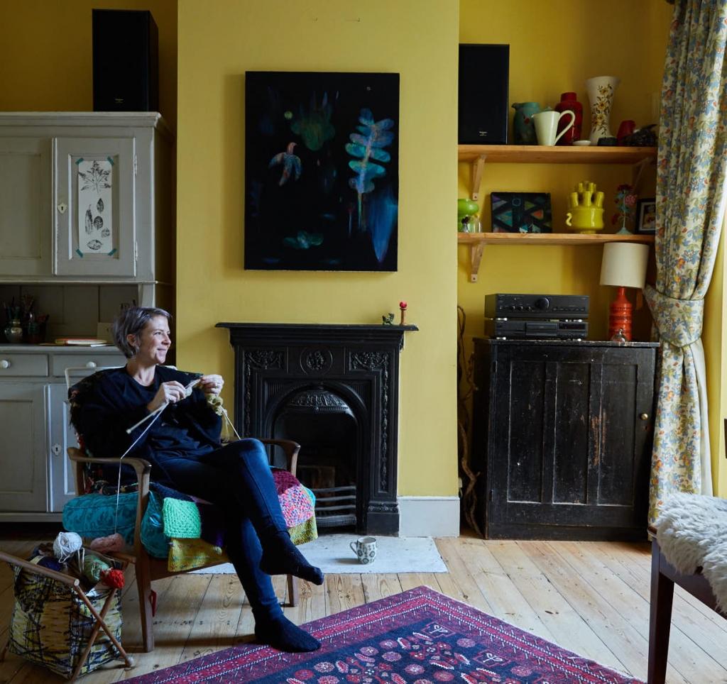 Becky Blair artist at home. Photograph by Hugh Fox
