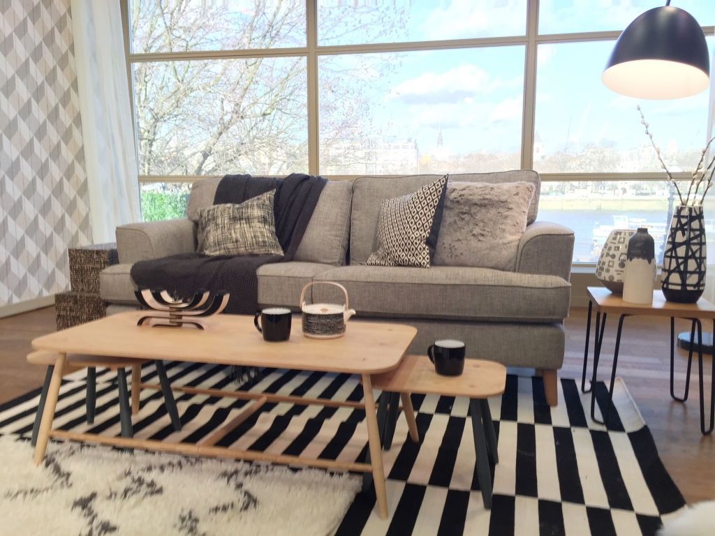 Scandinavian living room in grey and monochrome