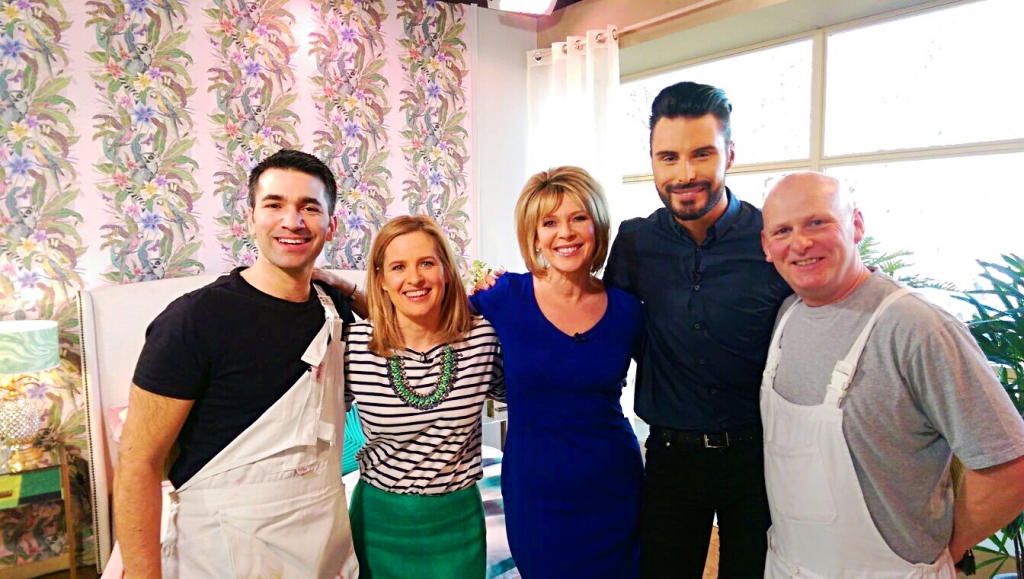 Sophie Robinson on ITVs This Morning during a Tropical bedroom makeover