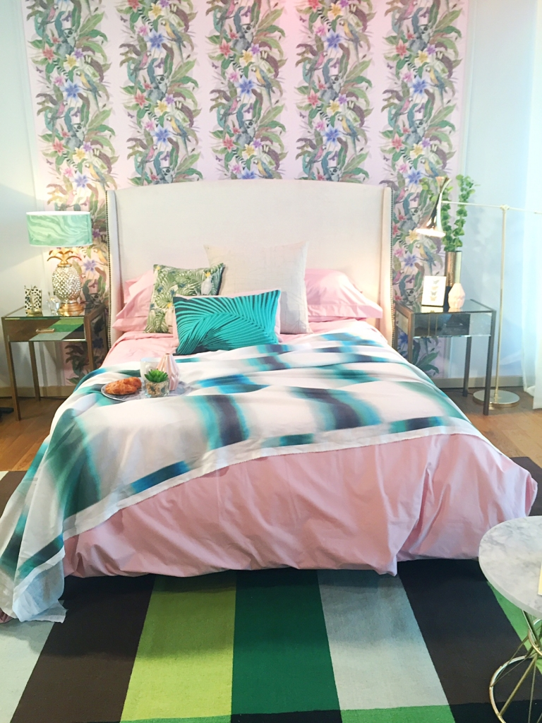 Tropical bedroom designed by Sophie Robison Palm Springs pink and green