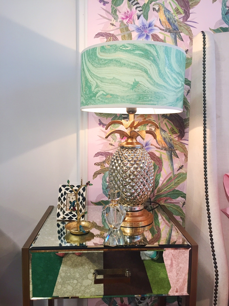 Tropical pineapple bedside lamp. Room designed by Sophie Robinson