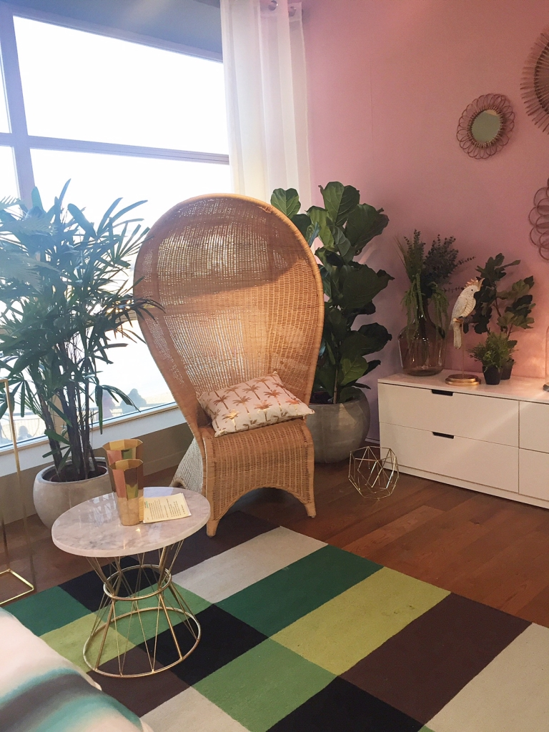 tropical bedroom designed by Sophie Robinson rattan chair by Habitat