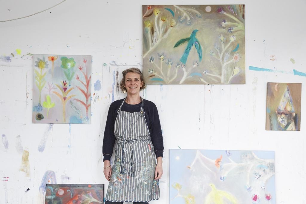 Artist Becky Blair in her artist studio