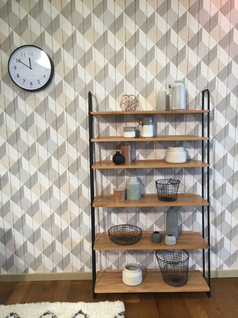 Scandinavain style interior with display shelves from Heals