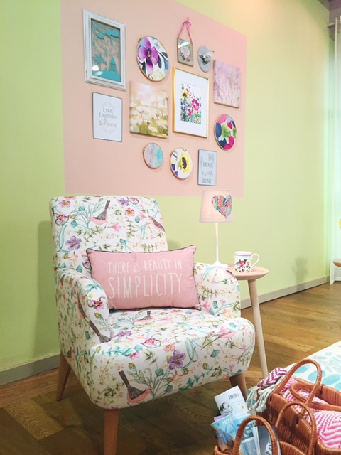Sophie Robinson Spring Pastel armchair gallery wall pale pink floral