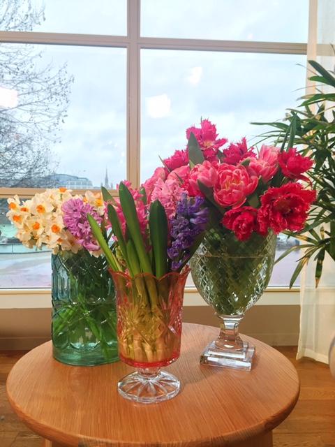 Spring flowers in vintage vases