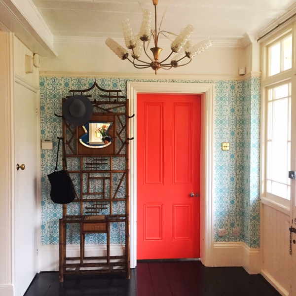 Orange door in the home of Sarah Mitchenall winner of the Great Interior Design Challenge