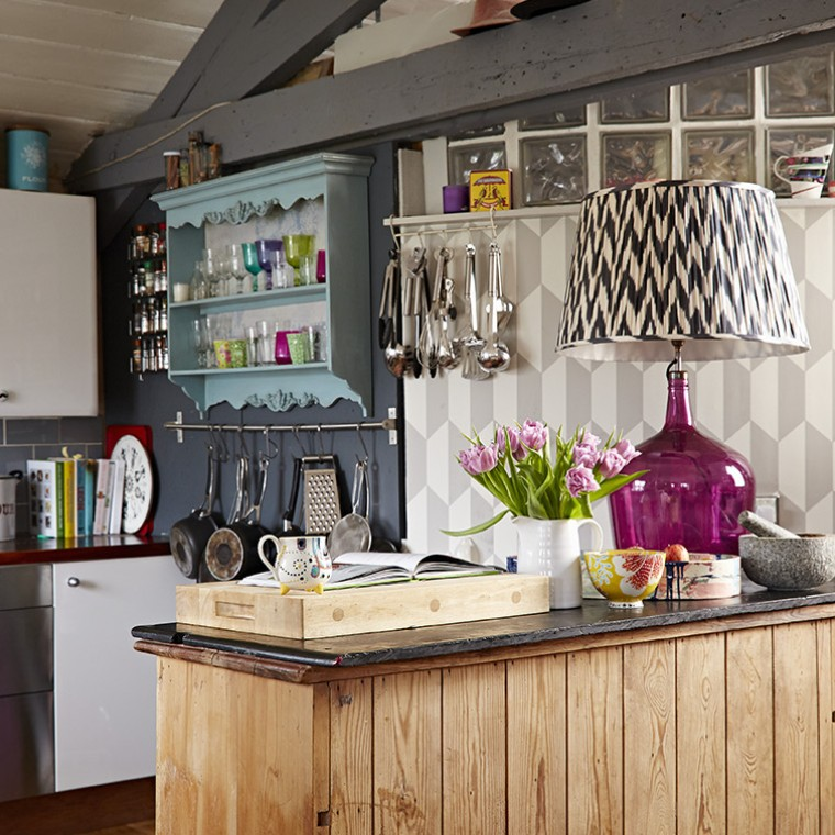Eclectic Kitchen in the rented home of interior designer Sophie Robinson