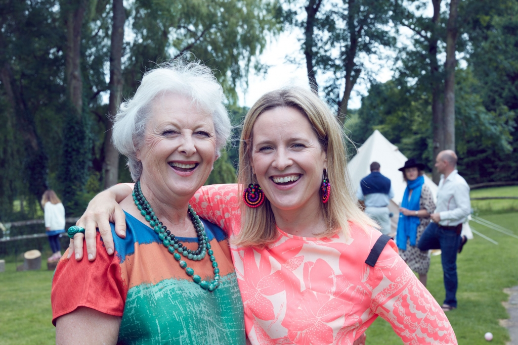 Interior designer Sophie Robinson with her mum on her 70th birthday