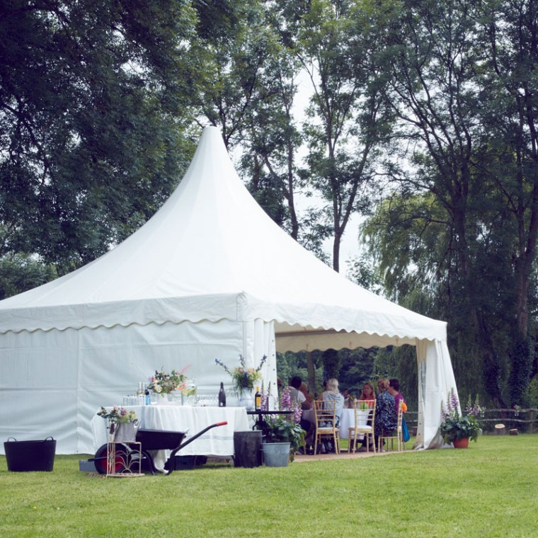 Summer garden party marquee is the perfect size for a realxed summer garden party. The chinese hat marquee seats up to 30 people easily