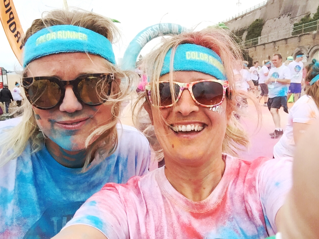 Sophie Abbott and Sophie Robinson on the Color Run in Brighton