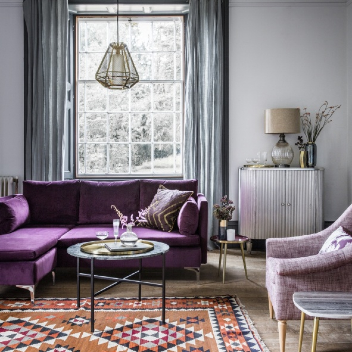 Room reveal purple and grey living room sophie robinson Purple living room