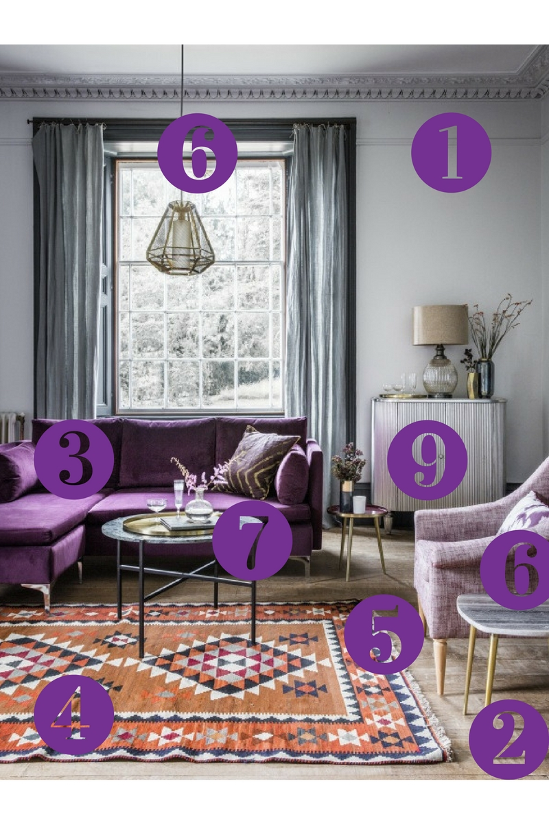 Room Reveal Of Grey Living Room With Purple Sofa.