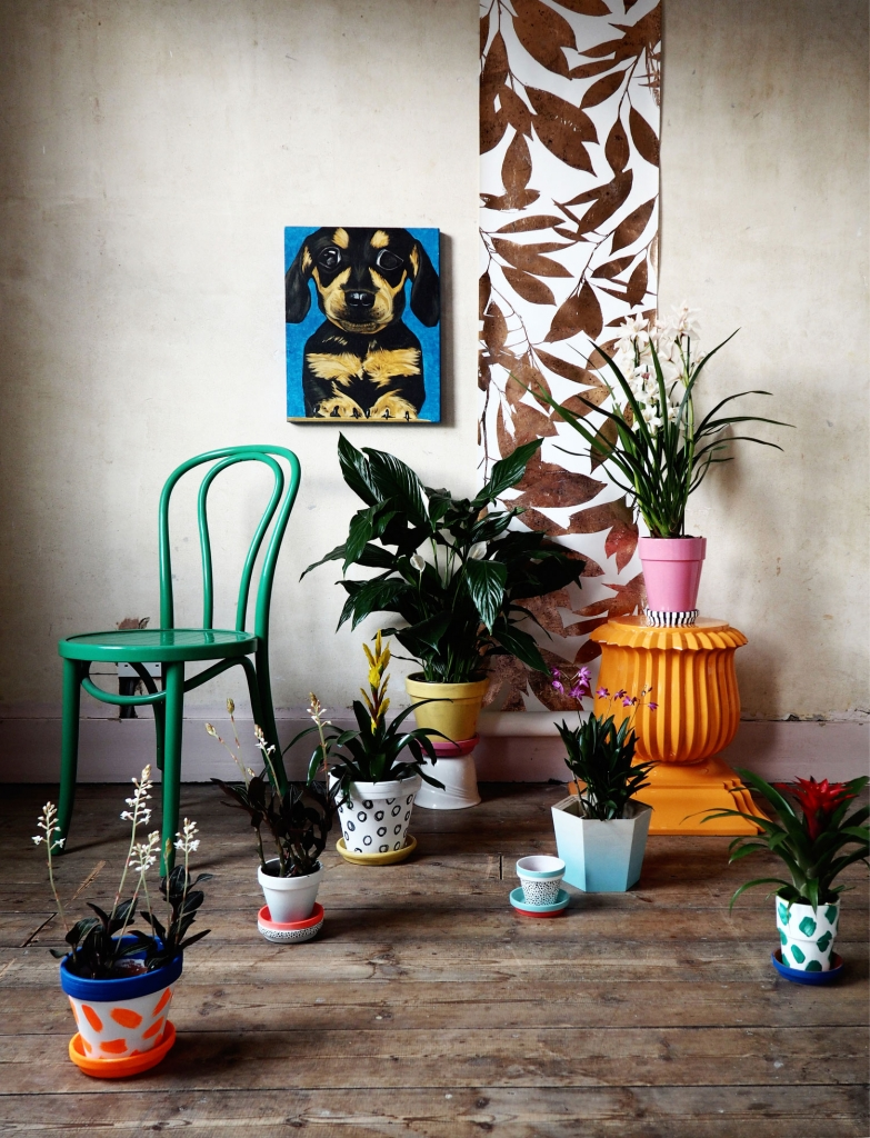 Interior stylist sarah Akwisombe styled house plants with painted furniture