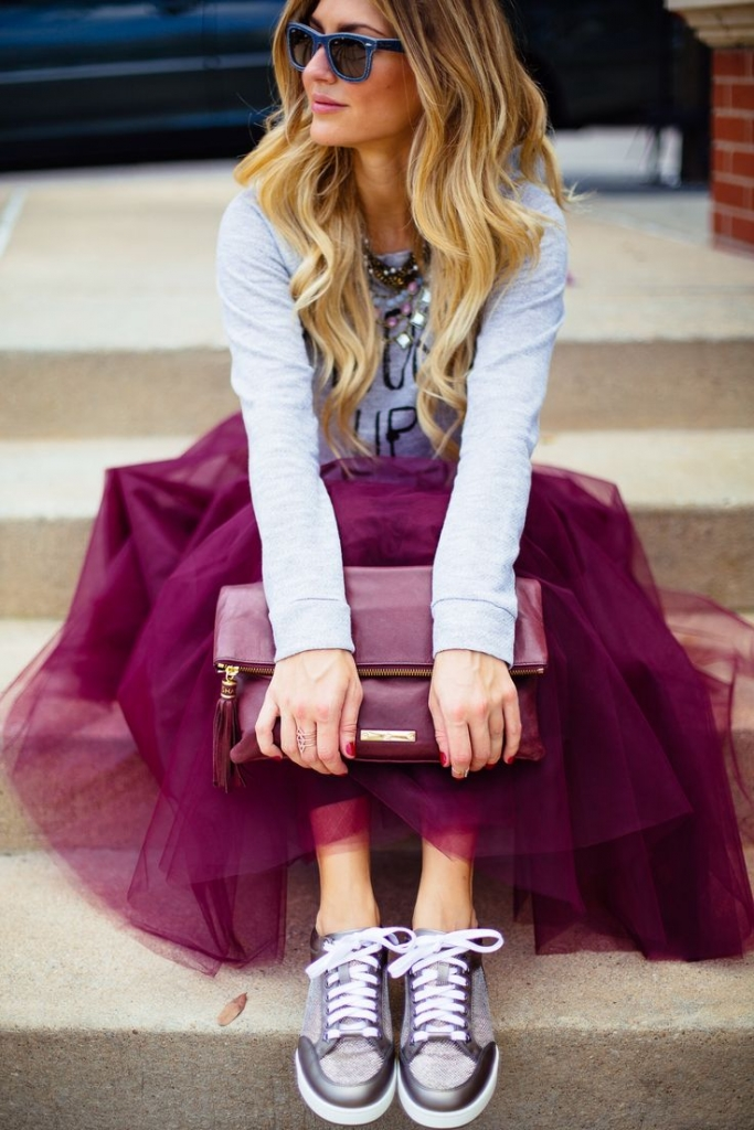 purple tulle skirt with sweatshirt and sneakers