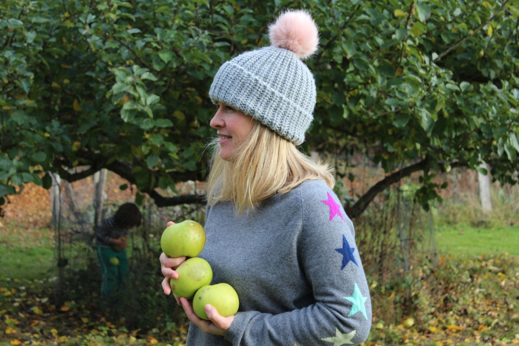 Stylist Sophie Robinson collects Bramely apples at her home is Sussex for baking for Bonfire night.