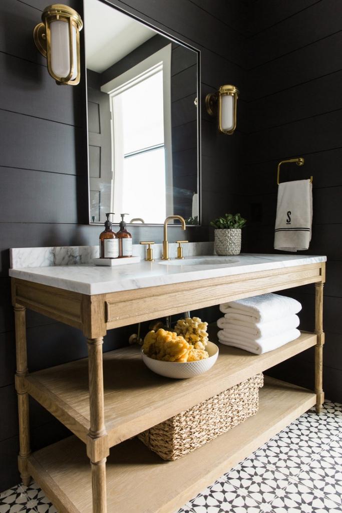 Black+shiplap+walls,+cement+tile+and+wood vanity Studio McGee