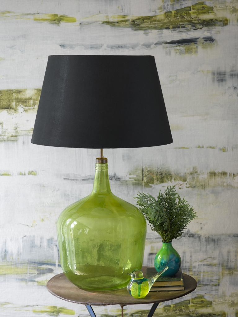 Pooky-Trixie-Table-Lamp-in-Green---130-Empire-Shade-in-Black-Silk-greenery- pantone-2017