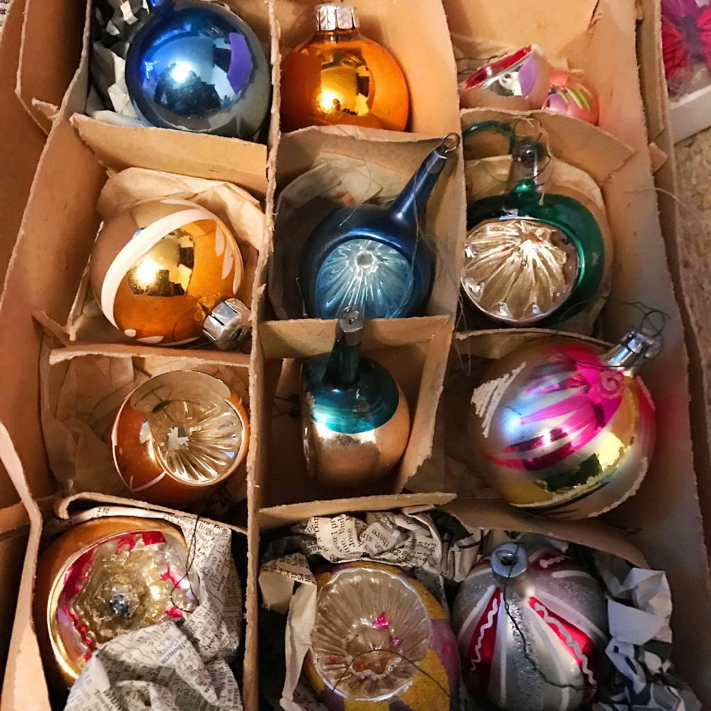 Stylist Sophie Robinsons beloved collection of Vintage glass baubles that were collected from eBay.