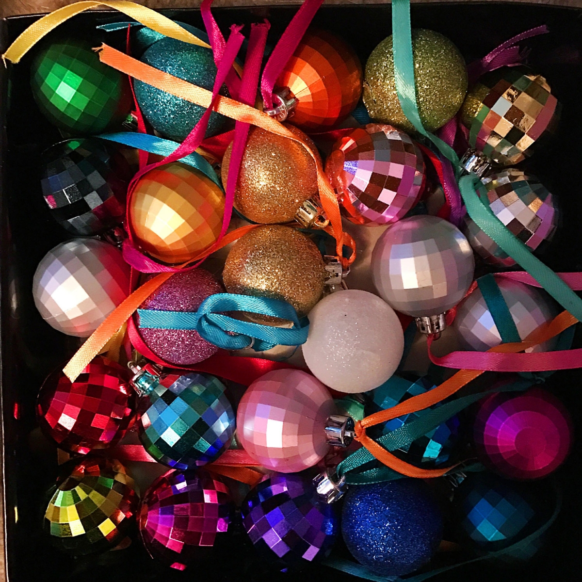 brighton rainbow tacky christmas baubles from sophie robinsons tree