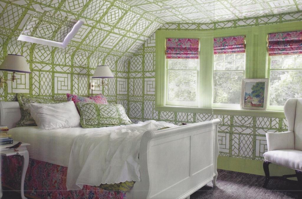 trellis wallpaper in attic bedroom green pink sleigh bed