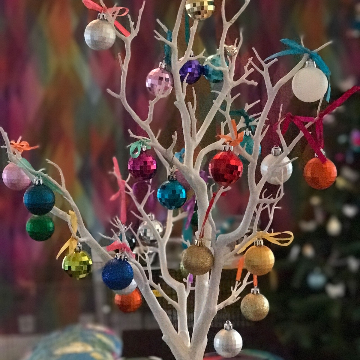 Jewel bright baubles for CHristmas make a stylish display