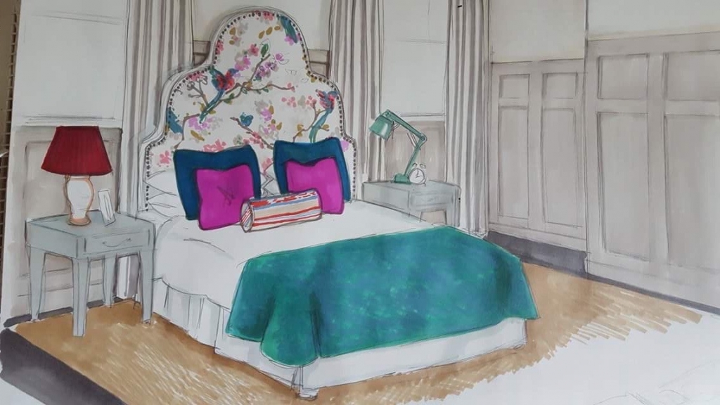 Bedroom sketch by Oliver Thomas for The Great Interior Design Challenge