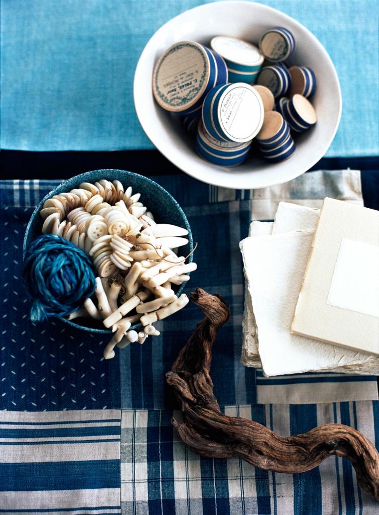 Indigo interior design mood board by interior stylist Mary Norden